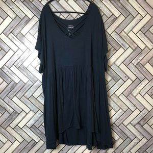 Torrid Navy Super Soft Knit Strappy Tunic Tee